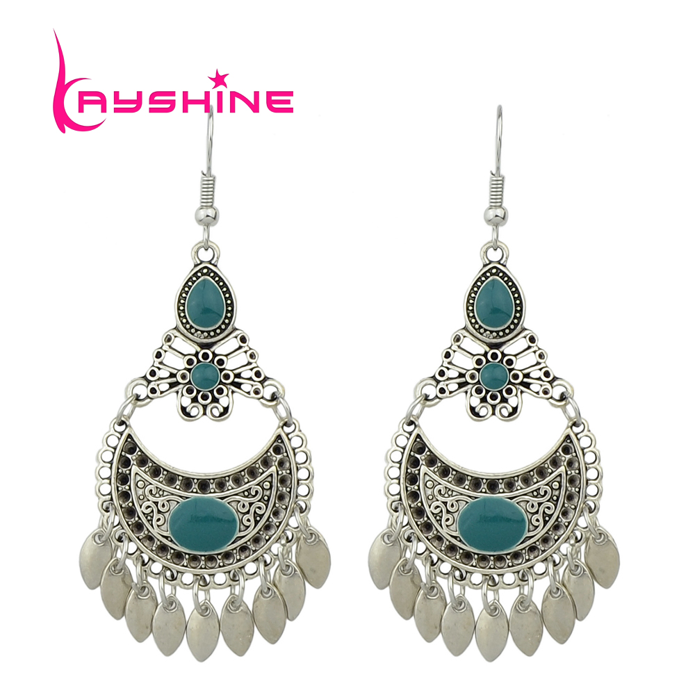 Vintage Jewelry Antique Silver Color Drop Earrings ...