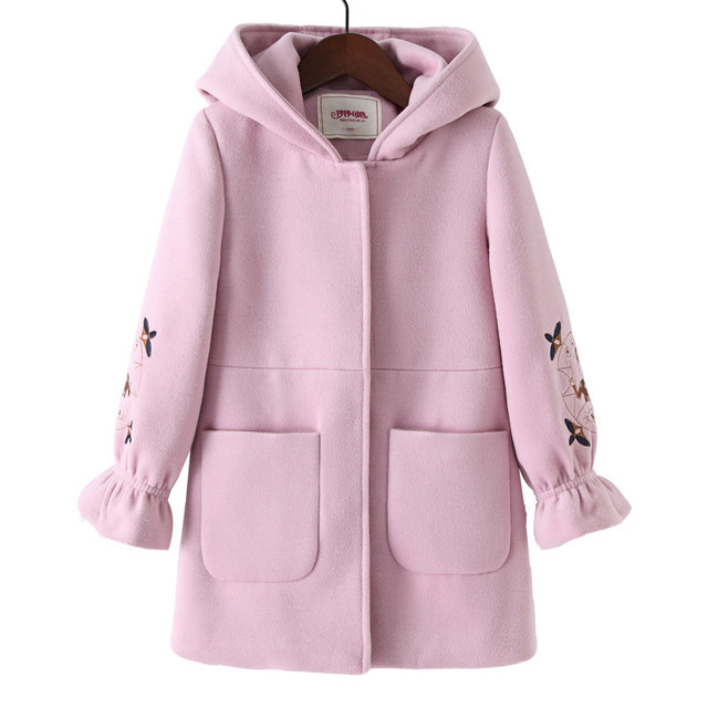 2019 Autumn Winter Girls Woolen Coat Pink Red Flores Design Petal Sleeves Long Jacket for Kids Age 4 6 8 10 11 12 Years old 2