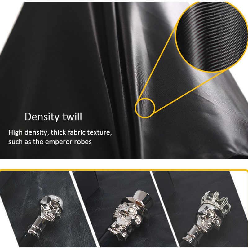 Hommes parapluie créatif diable métal crâne parapluie longue poignée parapluie mâle UV soleil pluie mâle coupe-vent noir parapluies vêtements de pluie