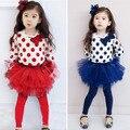 O Envio gratuito de 2015 Novos Do Bebê Meninas Define Conjunto de Roupas Meninas Dot camiseta + vestido de Baile Crianças 3 pcs Terno varejo
