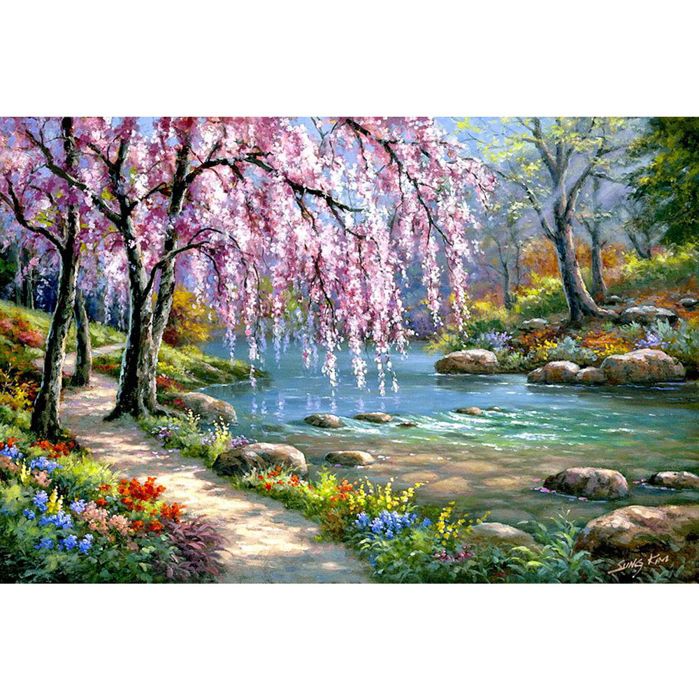 5D DIY Diamond Painting River Crystal Diamond Painting Cross Stitch Needlework Beautiful Weeping Willow Home Decorative D0545