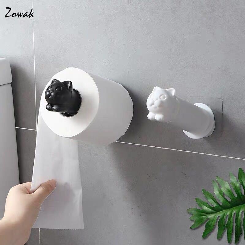 Cat Toilet Paper Holder Kitchen Roll Holder Towel Tissue Storage Rack Adhesive Wall Sticker Organizer Bathroom Hanger Creative
