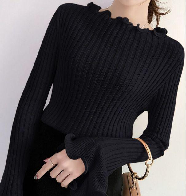 Wysokiej jakości jesień zima sweter kobiety swetry moda damska solidna Ruffles pełna Flare rękawem swetry z długim rękawem dla kobiet 2018