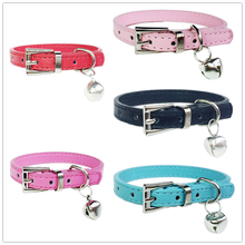 Pet Supplies Cat Perro  Adjustable PU Leather Necklace Pet Puppy Cat Dog Collar with Small Bell and Strong Buckle  for Chihuahua