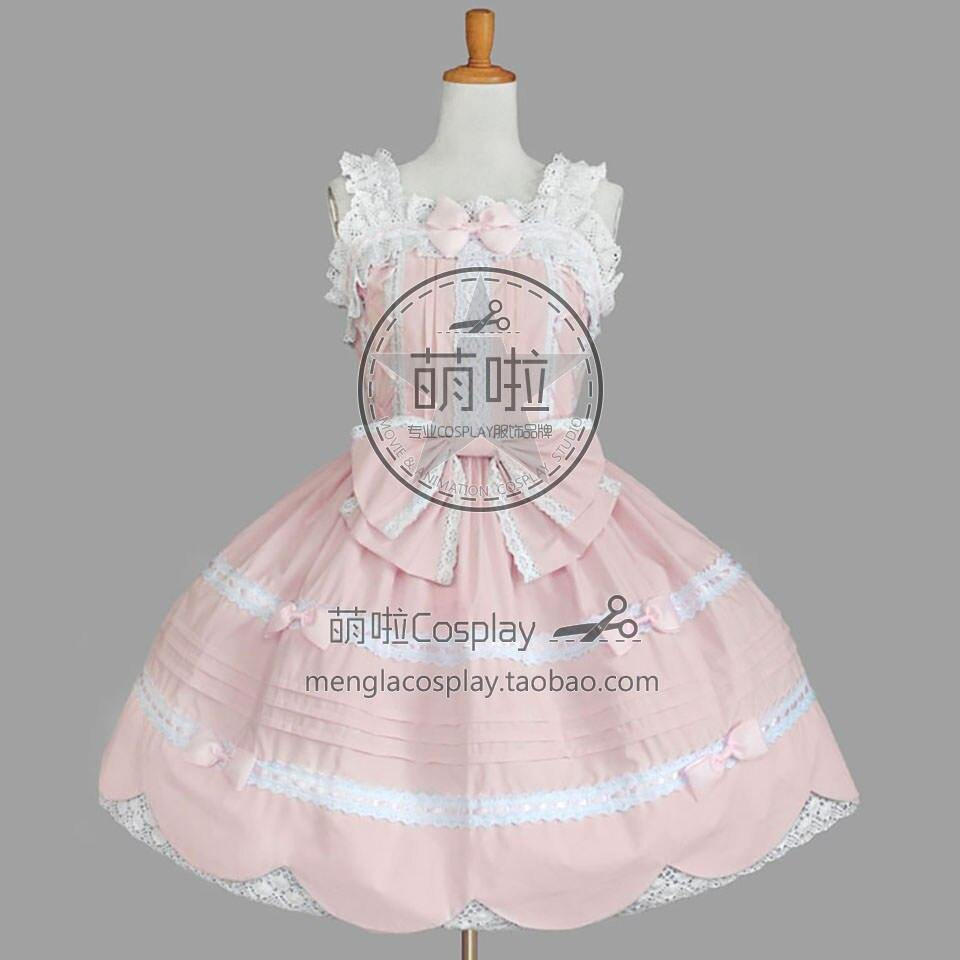 Lolita robe gothique rose Francaise Cosplay Costume avec nœud papillon blanc dentelle décoré victorien robe de bal sans manches fête rapide