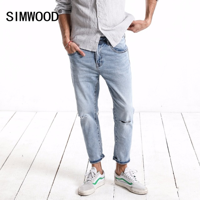 SIMWOOD 2018 Autumn Fashion Hole Jeans Men Ripped Slim Fit Denim Pants Ankle-Length Plus Size Brand Trousers High Quality 180123