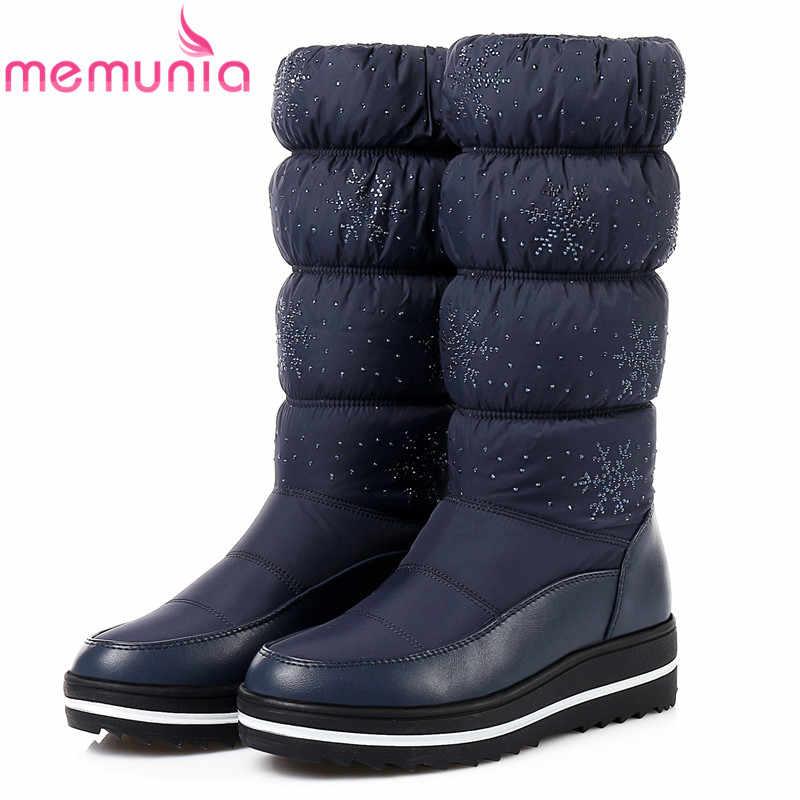 MEMUNIA Büyük boy 35-44 kadınlar için kar botları sıcak tutmak platform ayakkabılar orta buzağı botları taklidi moda çizmeler