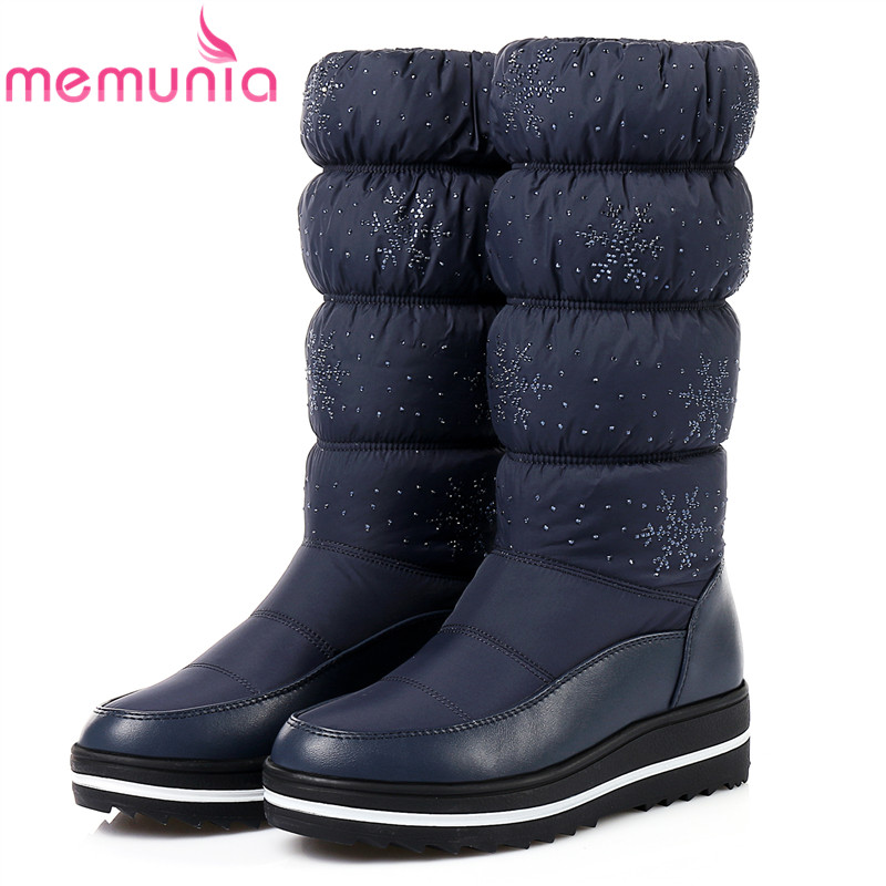 MEMUNIA Big size 35-44 snow boots for women keep warm platform shoes mid calf boots in winter rhinestone fashion boots fashion keep warm winter women boots snow boots 2017 buckle cotton boots women boots shoes