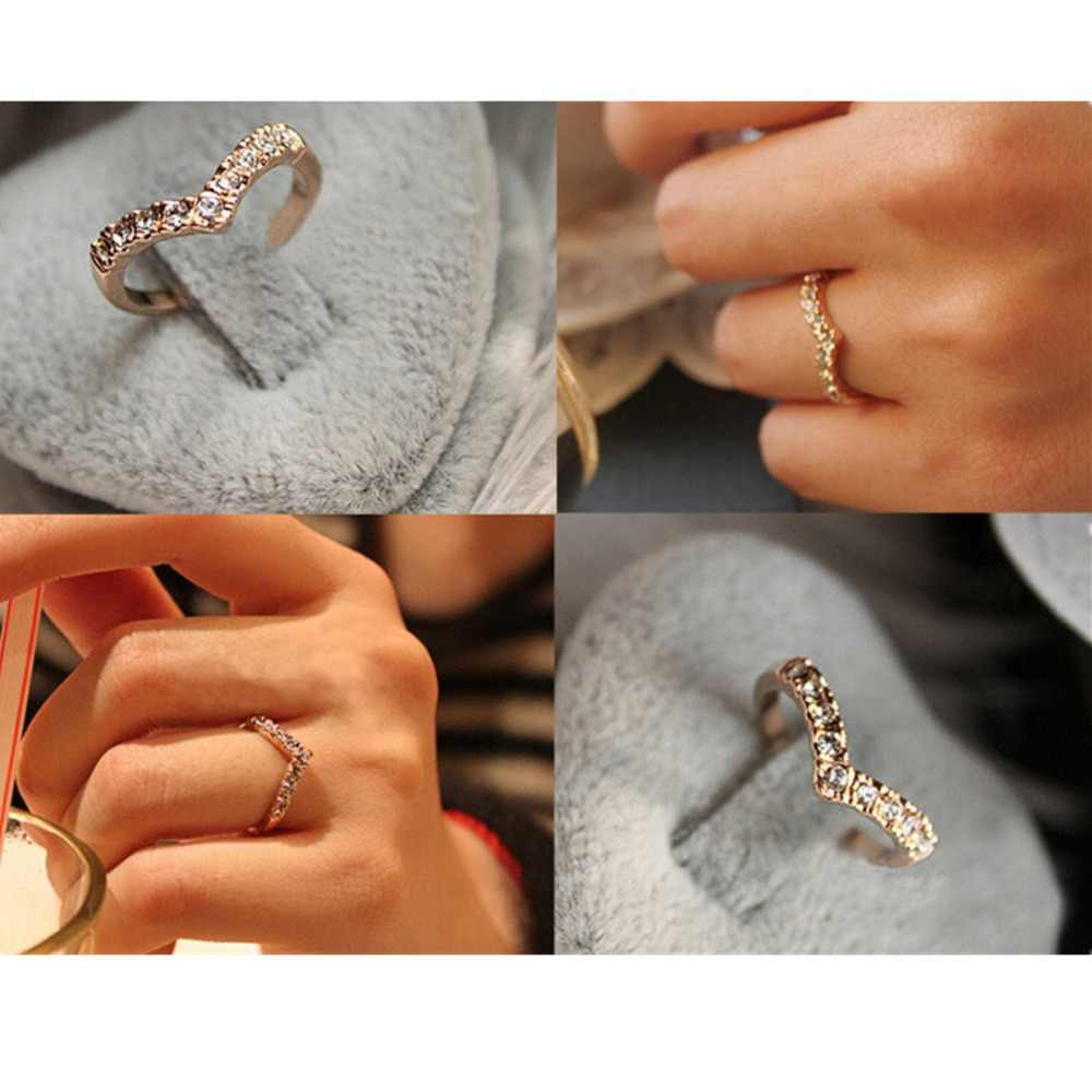 Anéis de meninas modernos, bijoux novo simples anel de dedo em v para mulheres jóias de casamento acessórios presente barato