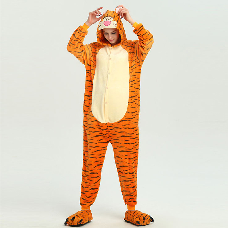 Funny Orange Tiger Animal Kigurumi Flannel Onesie For Women Pajamas Party Bodysuit Cosplay Unisex Sleepwear Halloween Pyjamas (6)