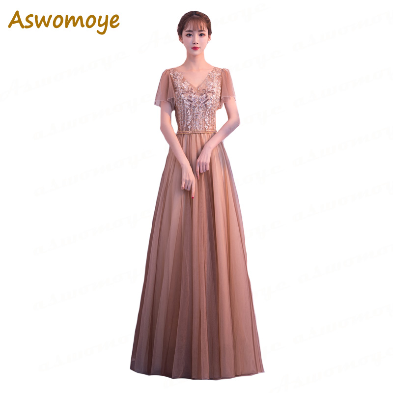 Aswomoye Elegant Beaded Crystal Evening Dress 2018 New Appliques A-Line Prom Dress Short Sleeve Sexy V-neck robe de soiree