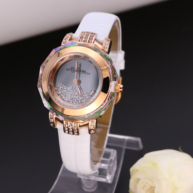цены  Melissa Lady Women' Watch Japan Quartz Hours Fine Fashion Dress Clock Bracelet Leather Crystal Luxury Rhinestones Girl Gift Box
