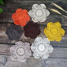 New Decor Party Wedding Christmas Placemats Cup Mat Mug Pad Flower Coasters Crochet Place Doily Table 15cm Modern Placemat