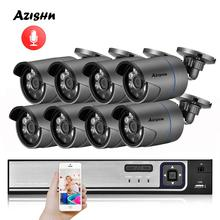 AZISHN H.265 8CH 1080P HDMI POE NVR Kit CCTV Sicherheit System 2MP IR Outdoor Audio Record IP Kamera P2P video Überwachung Set