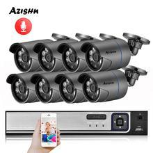 AZISHN sistema de seguridad CCTV H.265, 8 canales, 1080P, HDMI, NVR POE, 2MP, IR, cámara IP de grabación de Audio al aire libre, P2P