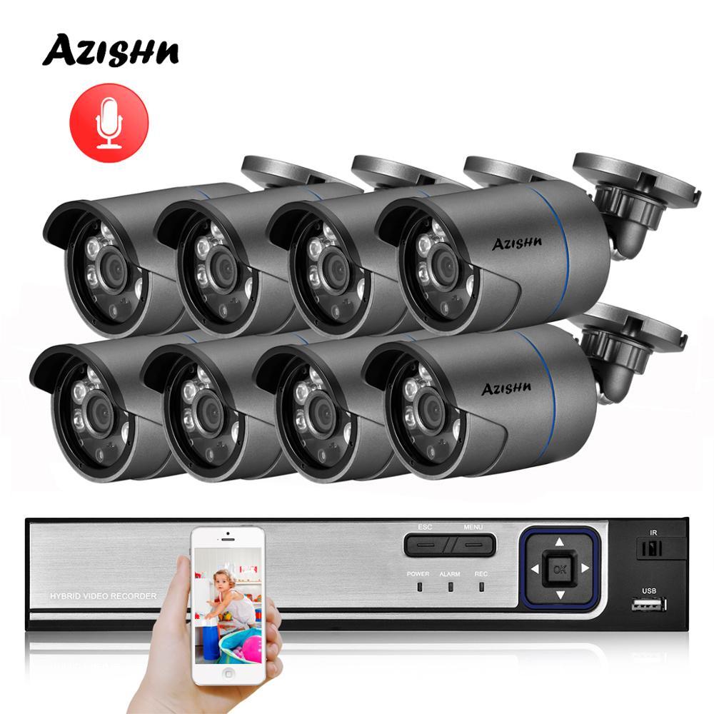 Azishn h.265 8ch 4mp poe sistema de câmera segurança nvr kit gravação áudio câmera ip ir ao ar livre ip66 cctv vídeo vigilância nvr conjunto