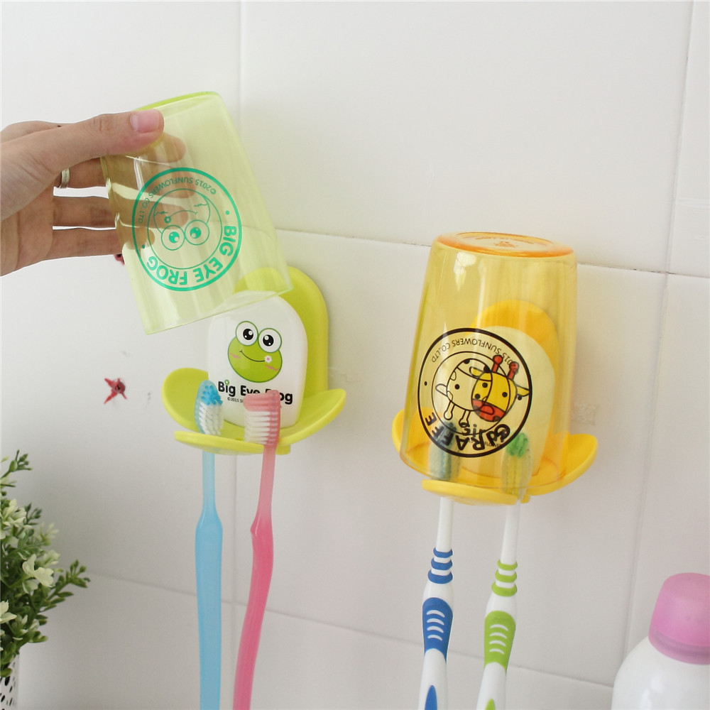 1 Set Wall Mounted Kids Couple Cartoon Toothpaste Toothbrush Holder Cup Set  For Bathroom Accessories Wash Part 21