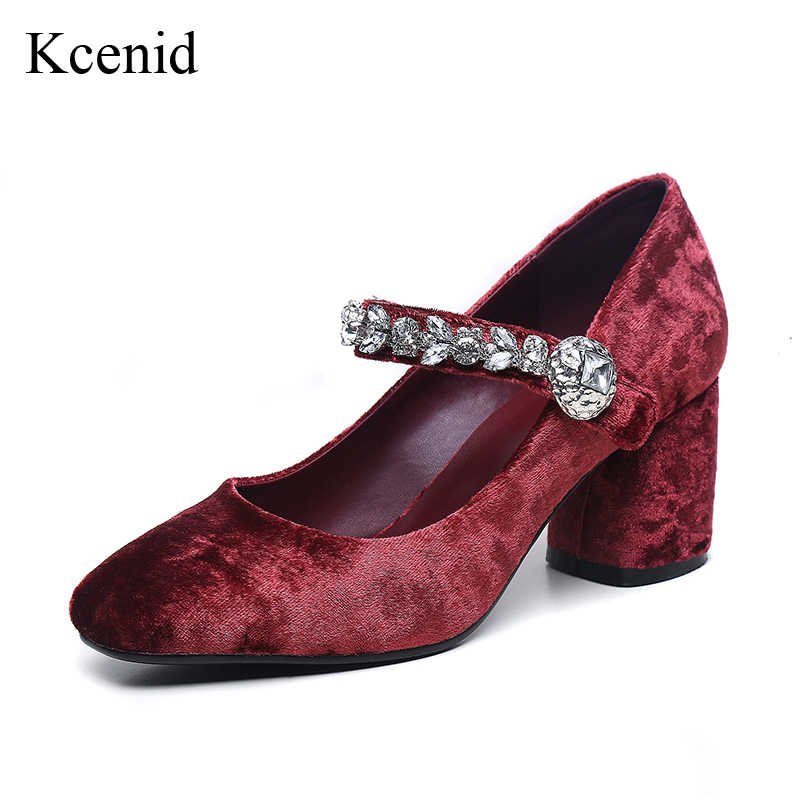 Kcenid 2018 Popular velvet buckle rhinestones mary janes high heels shoes  woman square toe shallow sheepskin 1f7eb3796f85
