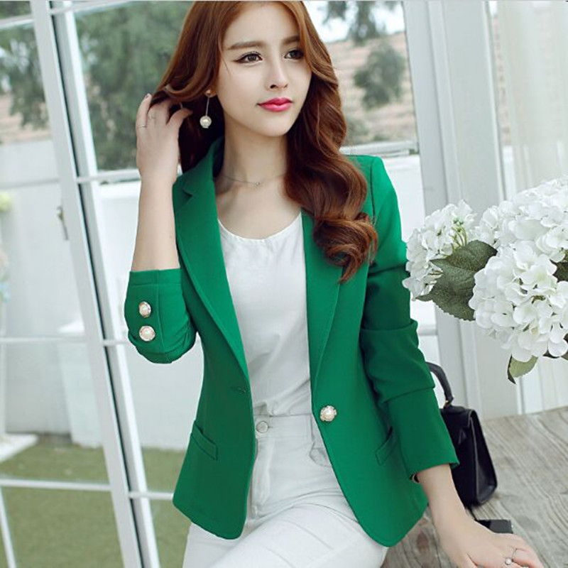 (Green Yellow Black) 2017 Women Blazers And Jackets New Long-sleeved Small Women Suit Version Slim Ladies Blazer Femme
