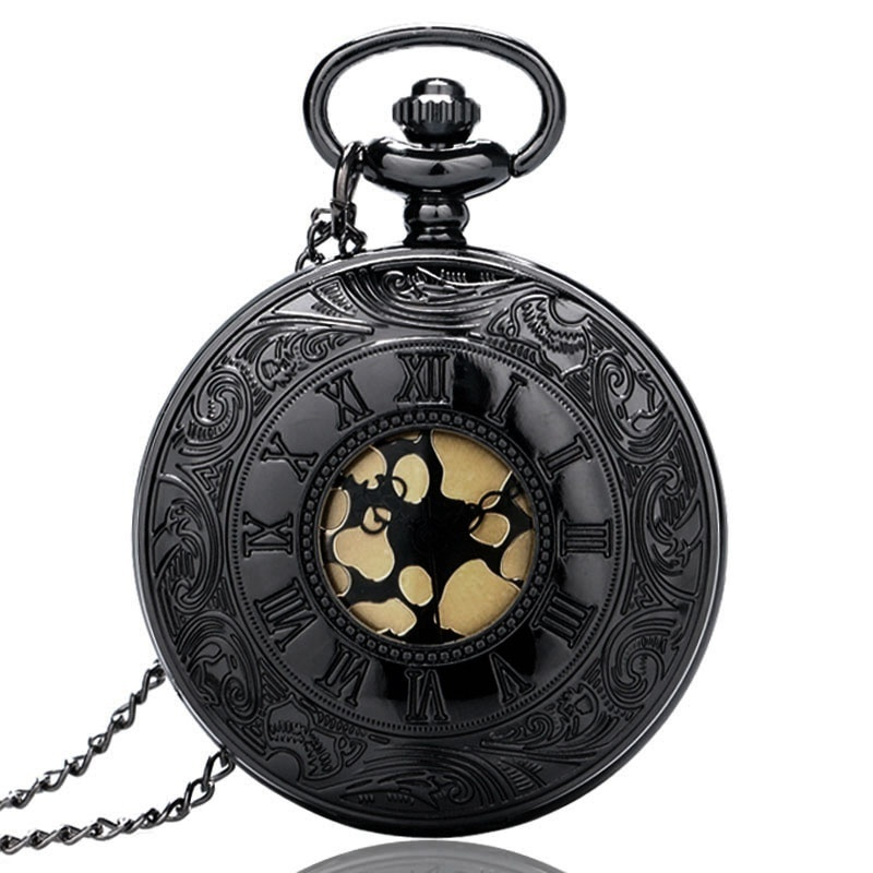 Must hall Rooma Dial Quartz Vintage Antiik Pocket Watch Meeste Kaelakee Kellad koos kett P413