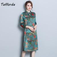 2018 New Fashion Women Cheongsam Dress Chinese Style Spring Summer Elegant Print 3/4 Sleeves Large Size S 3XL Female Vestidos