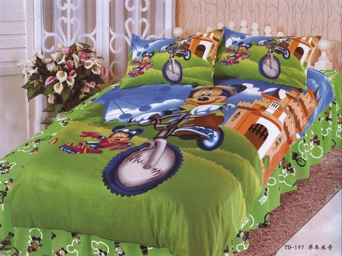 mickey mouse printed bedding single twin size bed duvet cover set bedclothes Childrens boys bedroom decor cotton fabric 3-5pcmickey mouse printed bedding single twin size bed duvet cover set bedclothes Childrens boys bedroom decor cotton fabric 3-5pc