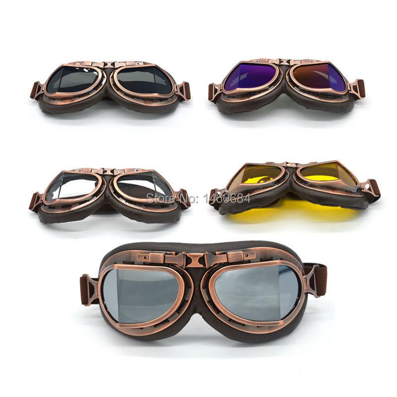جديد حار ريترو الطيار موتوكروس كروزر الدراجات النارية نظارات النحاس الإطار متعدد الألوان عدسة