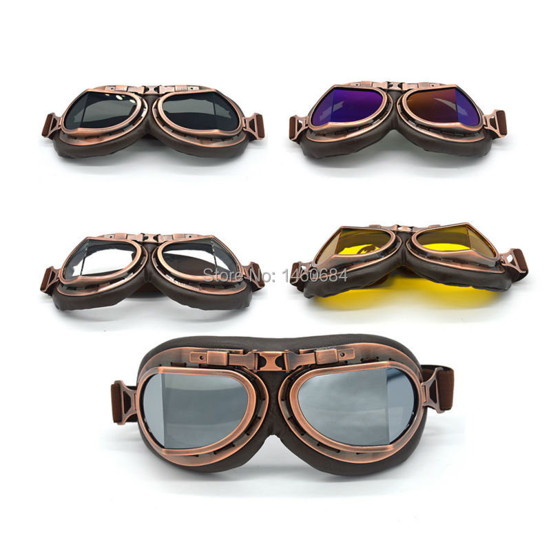 New Hot Retro Pilot Motocross Bikes Cruiser Motorcycle Cycling Goggles Copper Frame Multicolor Lens