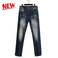 Waterwash Dark Jeans Ripped Denim Slim Fit Pants Dsel Brand Clothing Real Photos Destroyed Distressed Men