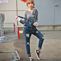 GOPLUS Washed Ripped Denim Jeans Overalls Women Pockets Tore Up Plus Size Cowboy Female Bib Skinny Jeans Pants Women's Trousers
