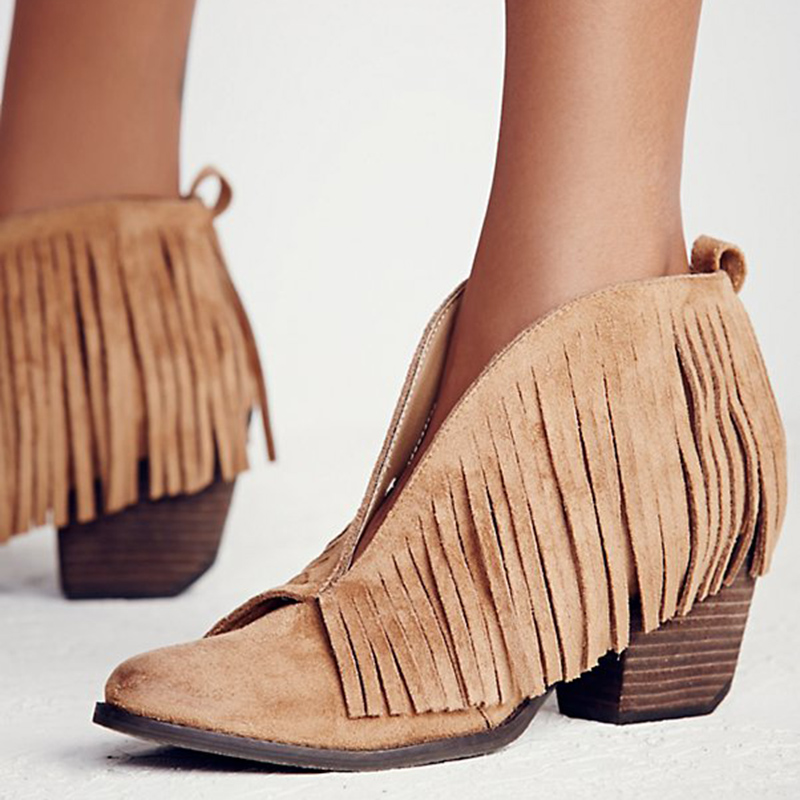 d9eb4a6bff Vintage chunky high heels suede leather woman ankle boots V sharpe fringe  bota feminina red black cowboy boots shallow botines -in Ankle Boots from  Shoes on ...