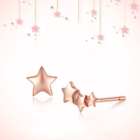 Classic 18K Pure Real Gold Star Pierced Earrings Women Girl Trendy AU750 Solid Rose Genuine Stud Fine Jewelry Party Gift