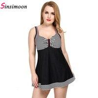Plus Size Dress Swimwear High Quality Women Wave Print One Piece Bathing Suit Retro Vintage Skirt