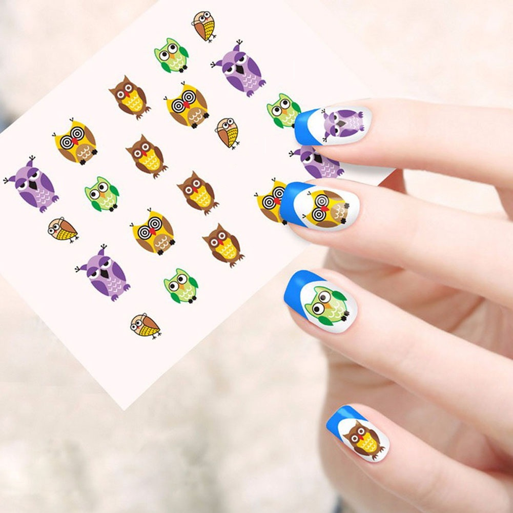 Hot Designs Children Image Owl Decals Water Transfer Nails Tips Of