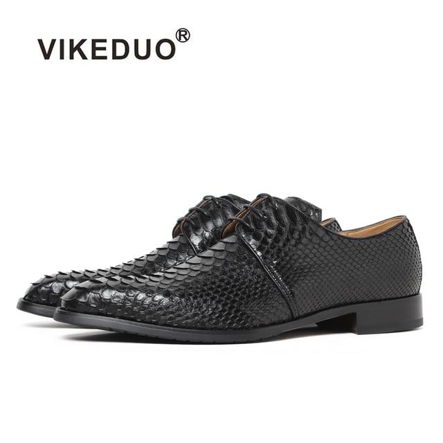 Vikeduo Handmade Snakeskin Vintage Retro Custom Fashion Luxury Wedding Party Original Design Genuine Leather Mens Derby Shoes
