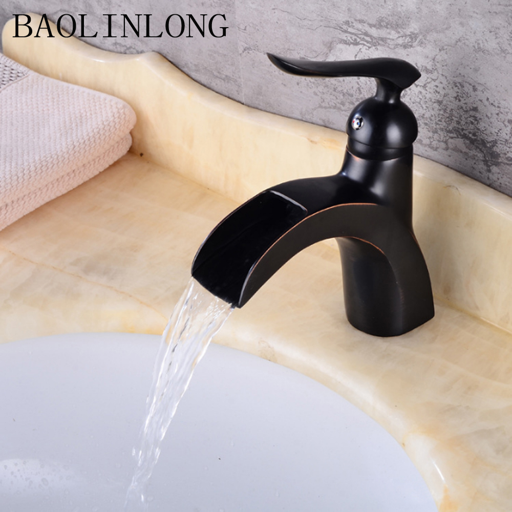 BAOLINLONG Antique Styling Brass Basin Bathroom Faucets Tap Deck Mount Vanity Vessel Mixer Sinks Waterfall FaucetBAOLINLONG Antique Styling Brass Basin Bathroom Faucets Tap Deck Mount Vanity Vessel Mixer Sinks Waterfall Faucet
