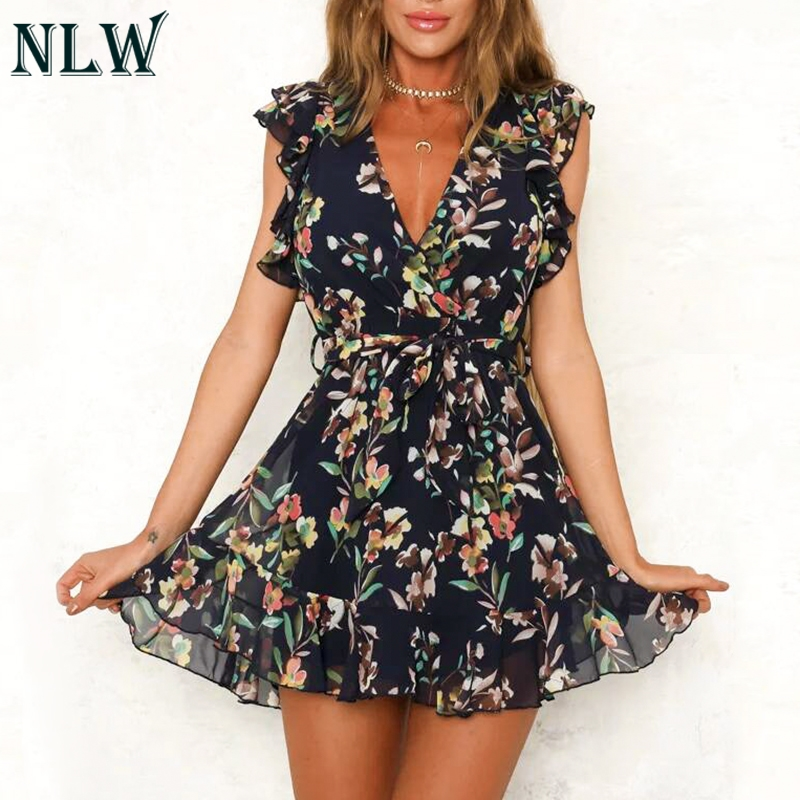 NLW 2019 NEW Vintage White Floral Print Chiffon Dress Women Summer Sexy Backless Short Dress Female Holiday Party Dress Vestidos