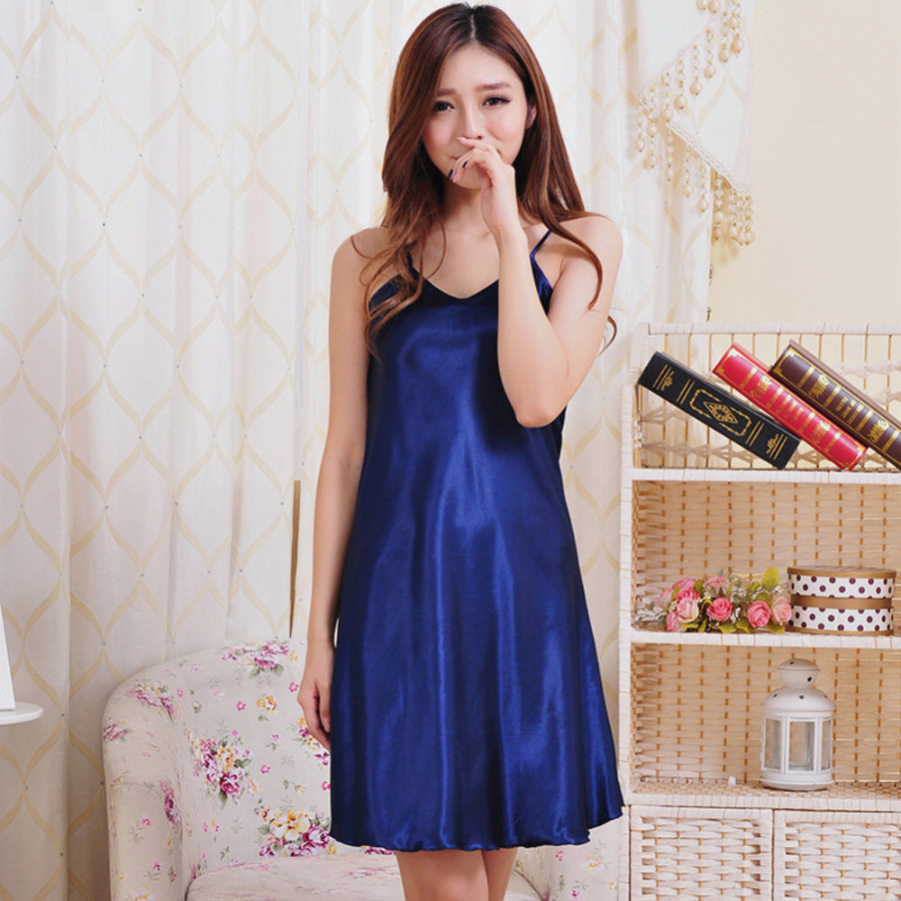 Summer Sexy Women Nightwear Mini Nightgowns Tempatation Deep V Straps Skirts  Silk Sleepwear Plus Size Solid Color Night Dress 05 2c587c14b