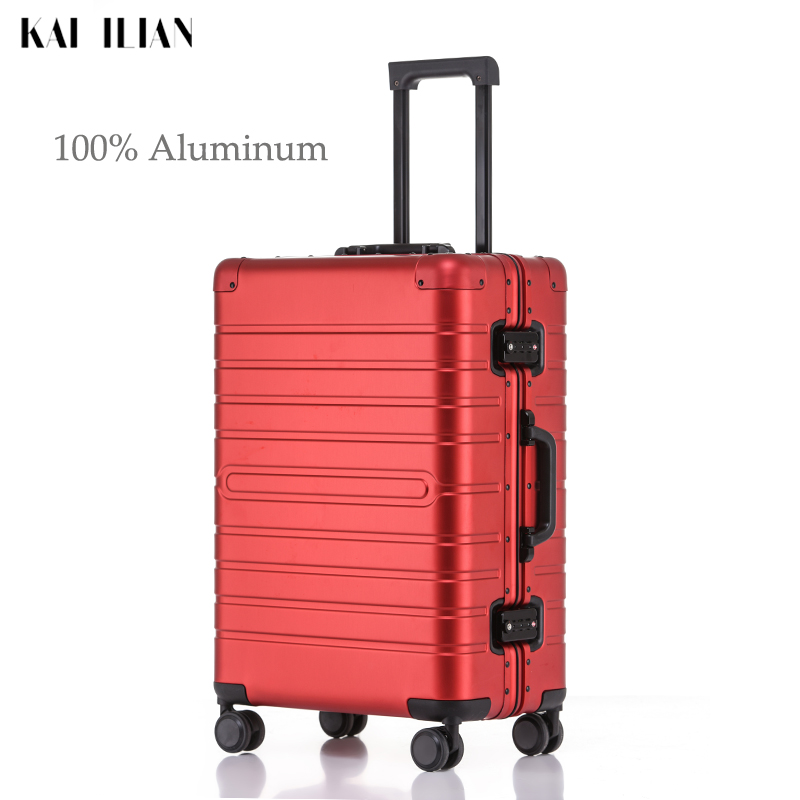 100% Aluminum Rolling Luggage Travel Suitcase Spinner Wheels Silver Carry-Ons Cabin Trolley Luggage Travel Big Bag Suitcase
