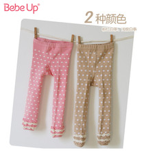 Free Shipping Retail Girl Organic cotton Brand 100% leggings Children Spring Autumn polka dot boot cut jeans Leggings 0-5 Years organic cut