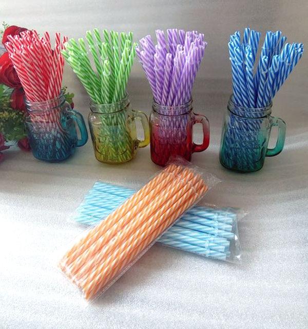 200 pc พลาสติก strip หลอดสำหรับเด็ก 9 ''ยาว paille bachelorette party supplies บาร์ค็อกเทล Mason Jar tumbler-ใน หลอดสำหรับดื่ม จาก บ้านและสวน บน   1