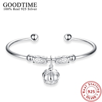 Sterling Silver Jewelry Lovely Crown Bracelets Bangles For Women Authentic 925 Sterling Silver Bangle Pulseiras Bijoux