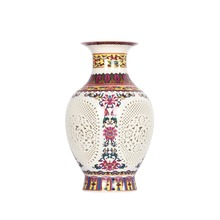 Antique Chinese-style Palace Restoring Ancient Ways Jingdezhen Hollow White Ceramic Vase Decoration Flower Vases