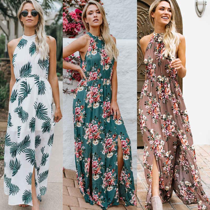 919fce0514a4 ... Women Summer Boho Casual Long Maxi Evening Party Beach Dress Sundress Halter  Neck Smocked Waist Split ...