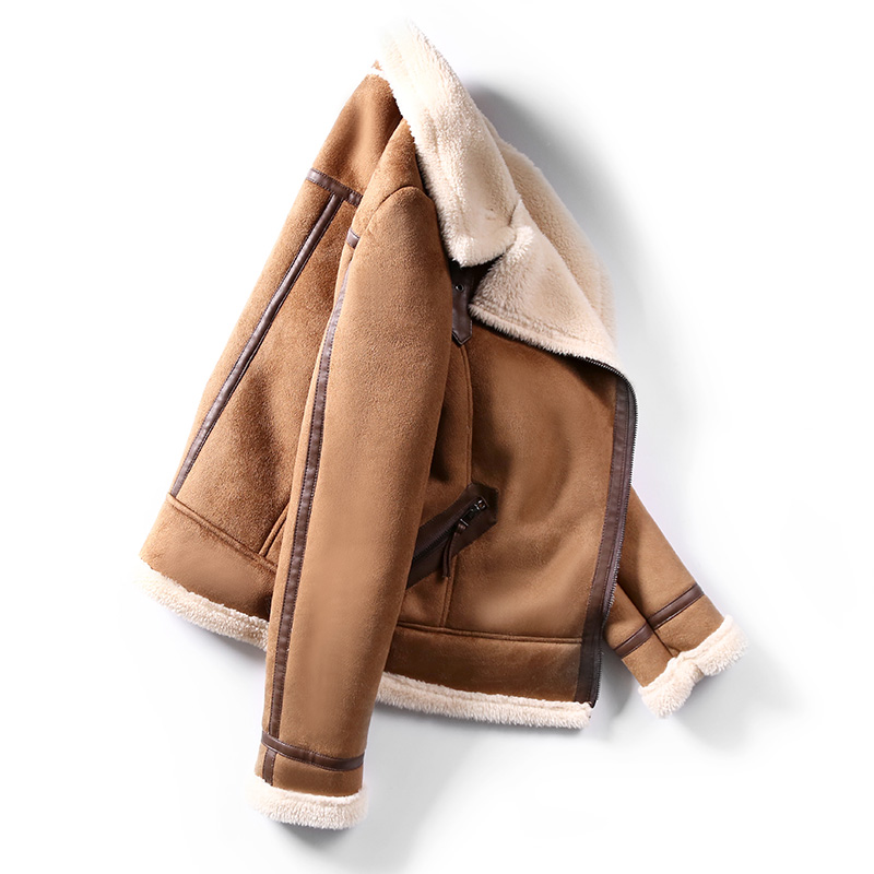Женская Шуба Из искусственной овчины, новая теплая замшевая куртка, мотоциклетная шуба из овечьей шерсти, коричневая кожаная куртка AS30100