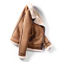 Women Faux Sheepskin Shearling Coat New Warm Suede Jacket Motorcycle Lamb Fur Coats Brown Leather Jacket AS30100