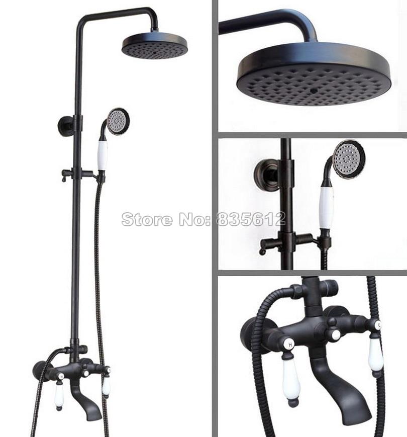 Wall Mounted Bathroom Black Oil Rubbed Bronze Rain Shower Faucet Set Bath Tub Mixer Tap with Handheld Spray+Shower Head Whg148