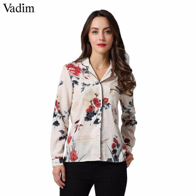 Vadim mujeres vintage grúa floral patrón Blusa de manga larga bolsillo Camisas Mujer casual otoño simétrica tops blusas LT2226