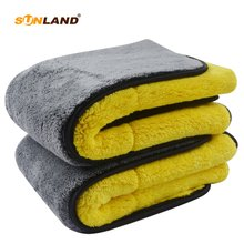 Sinland, 2 упаковки, 1000gsm, 40 см x 60 см, плюшевое полотенце из микрофибры для автомобиля, высокое качество, супер абсорбент, чистящее полотенце для автомобиля, двухстороннее