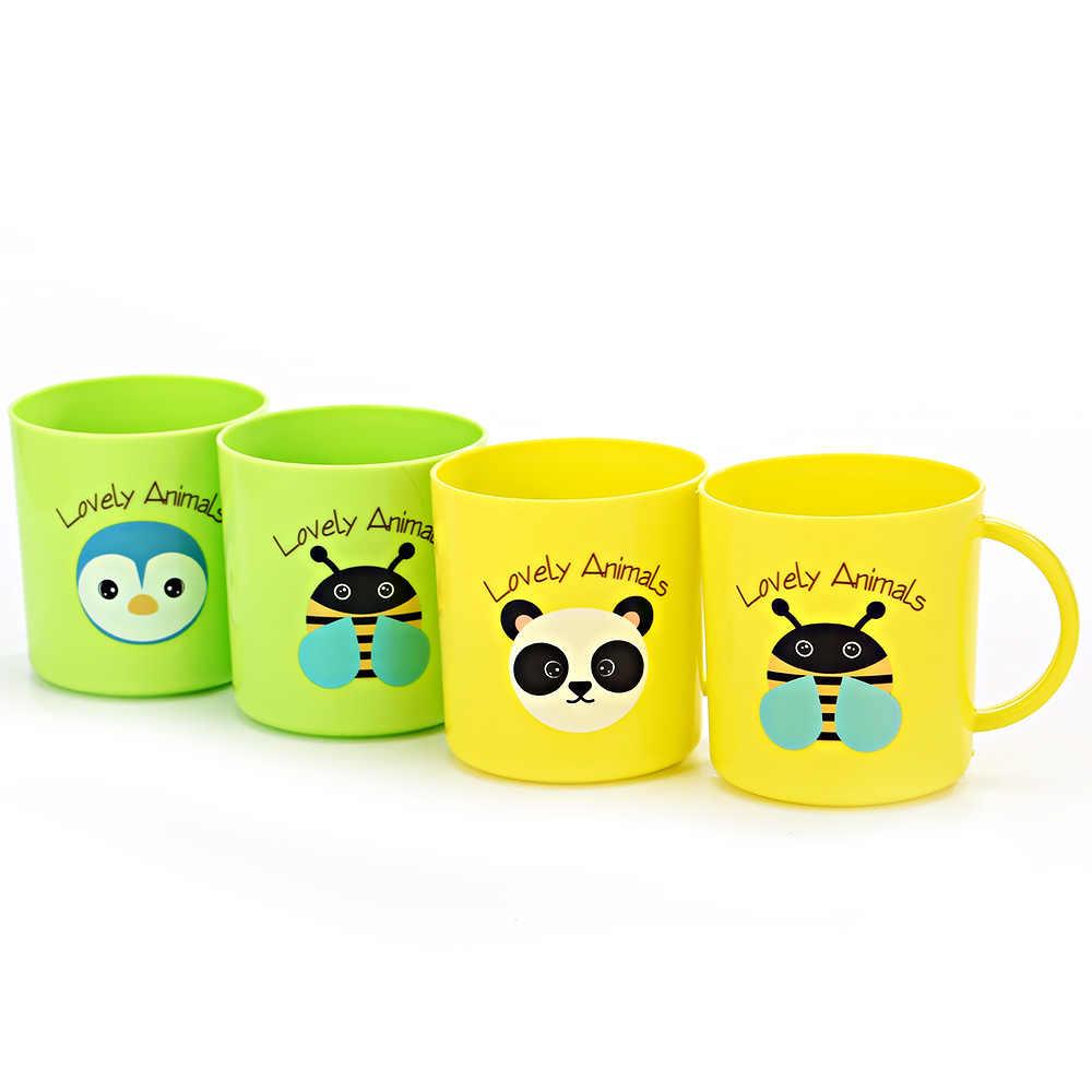 Caneca de leite infantil com alça 250ml, copo para bebês, crianças, amarelo/azul, 1 peça/verde/rosa desenhos animados aleatórios